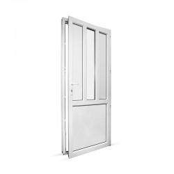 Plastové vedlejší vchodové dveře jednokřídlé 88x208 cm (880x2080 mm), dělené D4, bílé, PRAVÉ - pohled z interiéru - otevřené