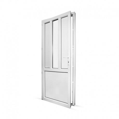 Plastové vedlejší vchodové dveře jednokřídlé 88x208 cm (880x2080 mm), dělené D4, bílé, LEVÉ - pohled z interiéru - otevřené