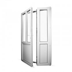 Plastové vedlejší vchodové dveře dvoukřídlé se štulpem 128x208 cm (1280x2080 mm), bílé, LEVÉ - interiér - otevřená obě křídla