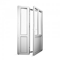 Plastové vedlejší vchodové dveře dvoukřídlé se štulpem 128x208 cm (1280x2080 mm), bílé, PRAVÉ - interiér - otevřená obě křídla
