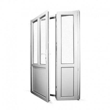 Plastové vedlejší vchodové dveře dvoukřídlé se štulpem 138x208 cm (1380x2080 mm), bílé, LEVÉ - interiér - otevřená obě křídla