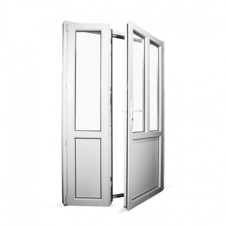Plastové vedlejší vchodové dveře dvoukřídlé se štulpem 138x208 cm (1380x2080 mm), bílé, PRAVÉ - interiér - otevřená obě křídla