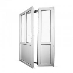 Plastové vedlejší vchodové dveře dvoukřídlé se štulpem 148x208 cm (1480x2080 mm), bílé, LEVÉ - interiér - otevřená obě křídla