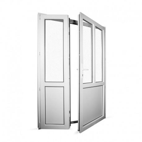Plastové vedlejší vchodové dveře dvoukřídlé se štulpem 148x208 cm (1480x2080 mm), bílé, PRAVÉ - interiér - otevřená obě křídla