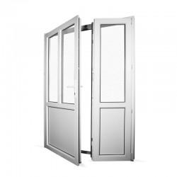 Plastové vedlejší vchodové dveře dvoukřídlé se štulpem 158x208 cm (1580x2080 mm), bílé, LEVÉ - interiér - otevřená obě křídla