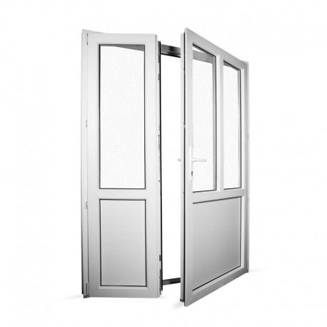 Plastové vedlejší vchodové dveře dvoukřídlé se štulpem 158x208 cm (1580x2080 mm), bílé, PRAVÉ - interiér - otevřená obě křídla