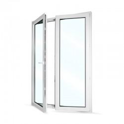 Plastové balkonové dveře dvoukřídlé se štulpem 148x208 cm (1480x2080 mm), bílé, LEVÉ - otevřené