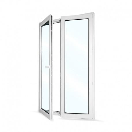 Plastové balkonové dveře dvoukřídlé se štulpem 128x208 cm (1280x2080 mm), bílé, LEVÉ - otevřené