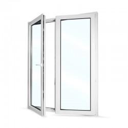 Plastové balkonové dveře dvoukřídlé se štulpem 168x208 cm (1680x2080 mm), bílé, LEVÉ - otevřené