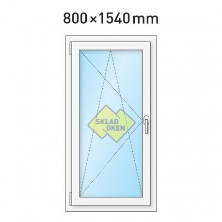 Plastové okno jednokřídlé 800 x 1540 mm - levé