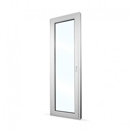 Plastové balkonové dveře jednokřídlé 68x208 cm (680x2080 mm), bílé, otevíravé i sklopné, LEVÉ - interiér - zavřené