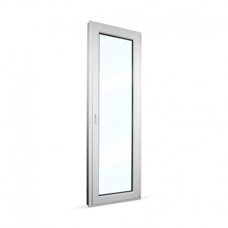 Plastové balkonové dveře jednokřídlé 68x208 cm (680x2080 mm), bílé, otevíravé i sklopné, PRAVÉ - interiér - zavřené