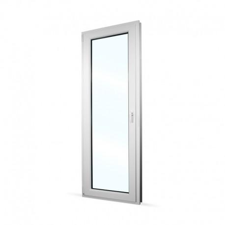 Plastové balkonové dveře jednokřídlé 78x208 cm (780x2080 mm), bílé, otevíravé i sklopné, LEVÉ - interiér - zavřené