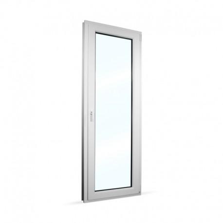 Plastové balkonové dveře jednokřídlé 78x208 cm (780x2080 mm), bílé, otevíravé i sklopné, PRAVÉ - interiér - zavřené