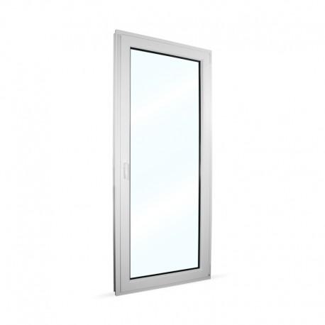 Plastové balkonové dveře jednokřídlé 88x208 cm (880x2080 mm), bílé, otevíravé i sklopné, PRAVÉ - interiér - zavřené