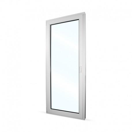 Plastové balkonové dveře jednokřídlé 88x208 cm (880x2080 mm), bílé, otevíravé i sklopné, LEVÉ - interiér - zavřené