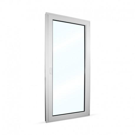 Plastové balkonové dveře jednokřídlé 98x208 cm (980x2080 mm), bílé, otevíravé i sklopné, PRAVÉ - interiér - zavřené