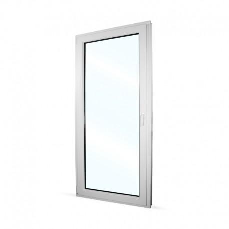 Plastové balkonové dveře jednokřídlé 98x208 cm (980x2080 mm), bílé, otevíravé i sklopné, LEVÉ - interiér - zavřené