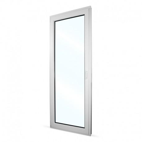 Plastové balkonové dveře jednokřídlé 86x236 cm (860x2360 mm), bílé, otevíravé i sklopné, LEVÉ - interiér - zavřené