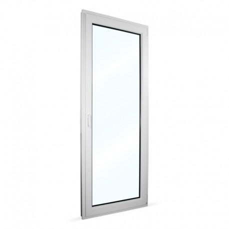 Plastové balkonové dveře jednokřídlé 86x236 cm (860x2360 mm), bílé, otevíravé i sklopné, PRAVÉ - interiér - zavřené