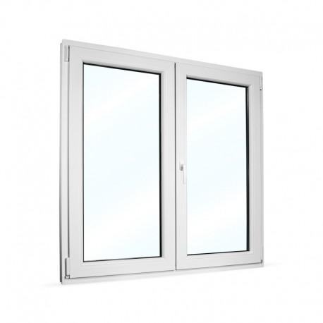 Plastové okno dvoukřídlé se štulpem 135x135 cm (1350x1350 mm), bílé, PRAVÉ