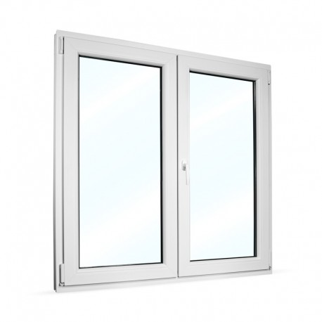 Plastové okno dvoukřídlé se štulpem 145x145 cm (1450x1450 mm), bílé, PRAVÉ