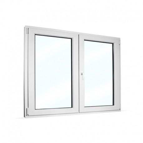 Plastové okno dvoukřídlé se štulpem 145x115 cm (1450x1150 mm), bílé, PRAVÉ