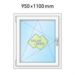Plastové okno jednokřídlé 950x1100 mm (95x110 cm) - otvíravo-sklopné levé