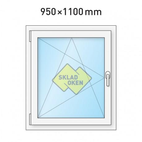 Plastové okno jednokřídlé 95x110 cm (950x1100 mm), bílé, otevíravé i sklopné, LEVÉ