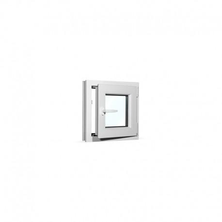 Plastové okno jednokřídlé 50x50 cm (500x500 mm), bílé, otevíravé i sklopné, PRAVÉ - otevřené