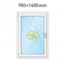 Plastové okno jednokřídlé 950x1400 mm (95x140 cm) - otvíravo-sklopné levé