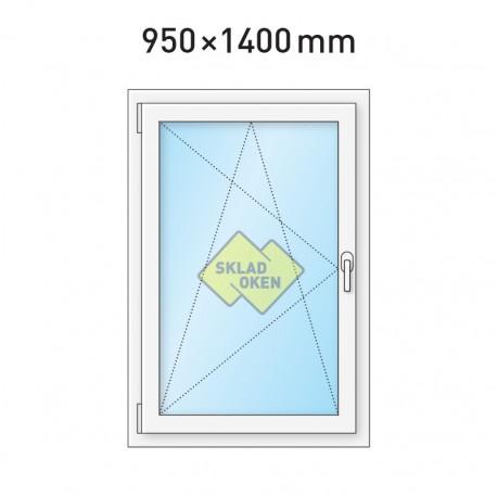 Plastové okno jednokřídlé 950 x 1400 mm - levé