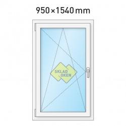 Plastové okno jednokřídlé 950 x 1540 mm - levé