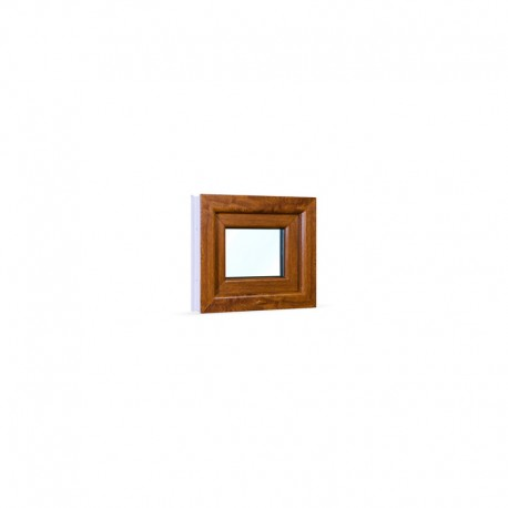 Sklopné plastové okno 49x42 cm (490x420 mm), bílá|zlatý dub - pohled z exteriéru