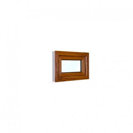 Sklopné plastové okno 60x42 cm (600x420 mm), bílá|zlatý dub - pohled z exteriéru