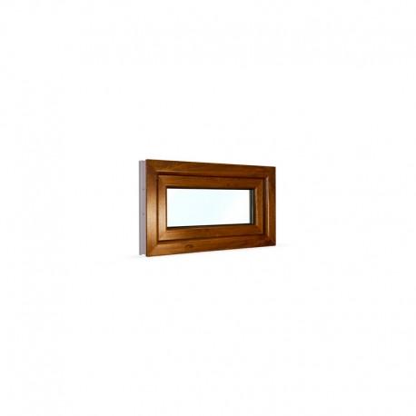 Sklopné plastové okno 75x42 cm (750x420 mm), bílá|zlatý dub - pohled z exteriéru