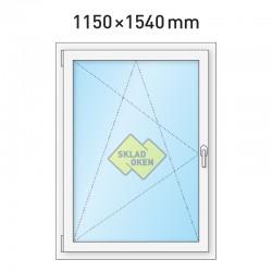 Plastové okno jednokřídlé 1150 x 1540 mm - levé