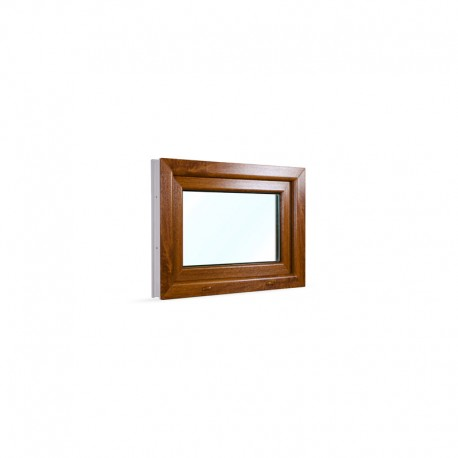 Sklopné plastové okno 75x55 cm (750x550 mm), bílá|zlatý dub - pohled z exteriéru
