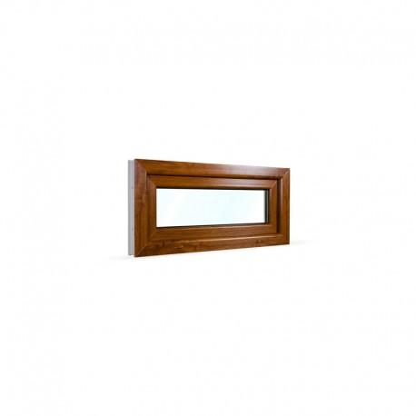 Sklopné plastové okno 90x42 cm (900x420 mm), bílá|zlatý dub - pohled z exteriéru