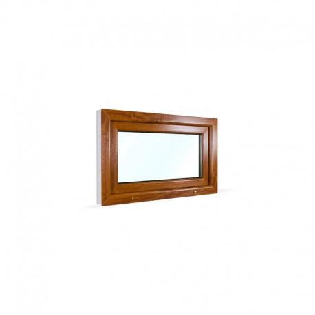 Sklopné plastové okno 90x55 cm (900x550 mm), bílá|zlatý dub - pohled z exteriéru