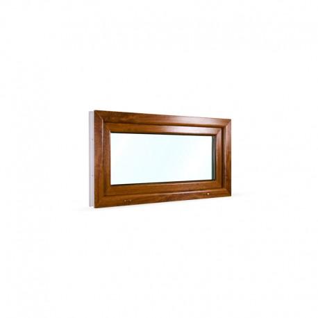 Sklopné plastové okno 105x55 cm (1050x550 mm), bílá|zlatý dub - pohled z exteriéru