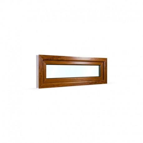 Sklopné plastové okno 120x42 cm (1200x420 mm), bílá|zlatý dub - pohled z exteriéru