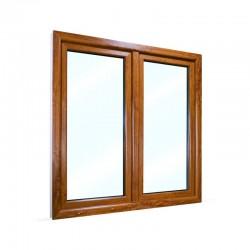 Plastové okno dvoukřídlé se štulpem 135x135 cm (1350x1350 mm), bílá|zlatý dub, PRAVÉ - pohled z exteriéru