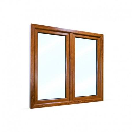 Plastové okno dvoukřídlé se štulpem 125x115 cm (1250x1150 mm), bílá|zlatý dub, PRAVÉ
