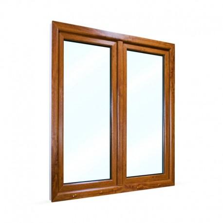 Plastové okno dvoukřídlé se štulpem 125x145 cm (1250x1450 mm), bílá|zlatý dub, PRAVÉ