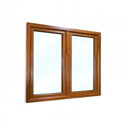 Plastové okno dvoukřídlé se štulpem 135x115 cm (1350x1150 mm), bílá|zlatý dub, PRAVÉ