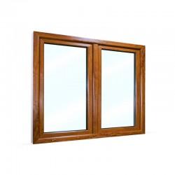 Plastové okno dvoukřídlé se štulpem 145x115 cm (1450x1150 mm), bílá|zlatý dub, PRAVÉ