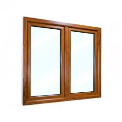 Plastové okno dvoukřídlé se štulpem 145x130 cm (1450x1300 mm), bílá|zlatý dub, PRAVÉ