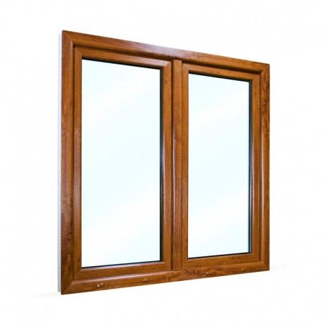 Plastové okno dvoukřídlé se štulpem 145x145 cm (1450x1450 mm), bílá zlatý dub, PRAVÉ