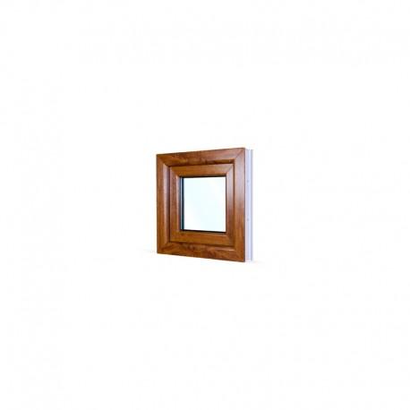 Jednokřídlé plastové okno 50x50 cm (500x500 mm), bílá|zlatý dub, otevíravé i sklopné, LEVÉ - pohled z exteriéru